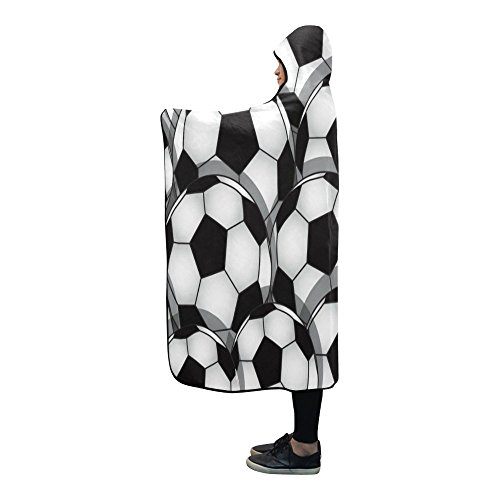 Free Shipping InterestPrint Fleece Hooded Blanket Black Soccer Stunning Soccer Blankets And Throws