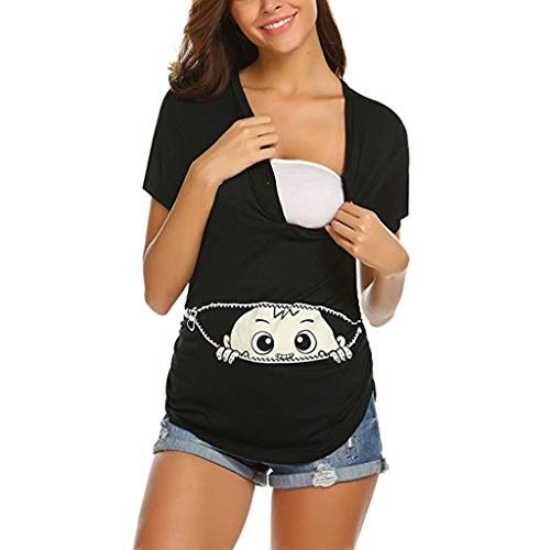 5a7ca8b82d94af Lonshell Button Schwangerschaft Unterhemd Sommer Umstandsmode Kurzarm T- Shirt Mutterschafts Stillzeit Umstands-Top Bluse