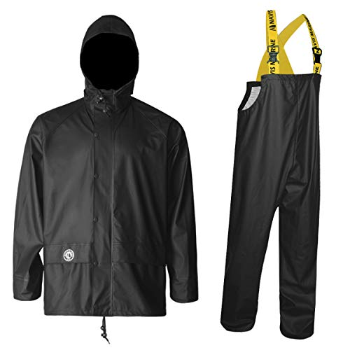 Navis Marine Rain Suit for Men Women Heavy Duty Workwear Waterproof Jacket with Pants 3 Pieces