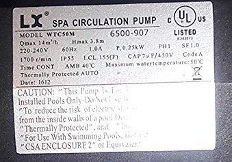"American Spa Parts 6500-907 LX Circulation Pump WTC50M 230V 2006+ Jacuzzi J-400 Premium Sundance 1 1/2"" Side Discharge"
