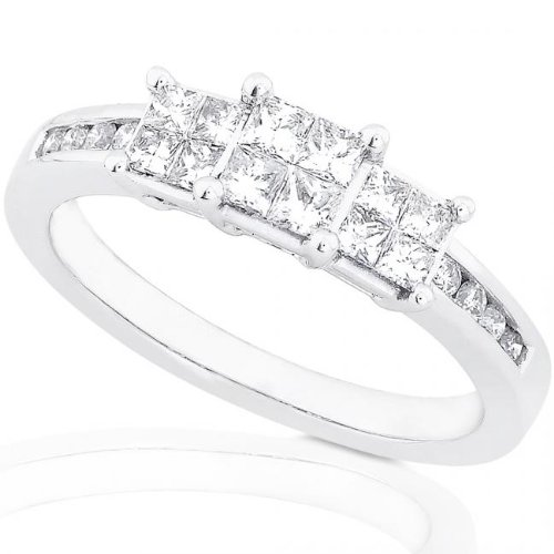1/2ctw Three Stone Princess & Round Diamond Engagement Ring (GH/I1-I2) in 14Kt White Gold – Size 5
