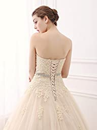 ScelleBridal Sweetheart Strapless A-line Lace Appliques Wedding Dresses for Bride Champagne 10