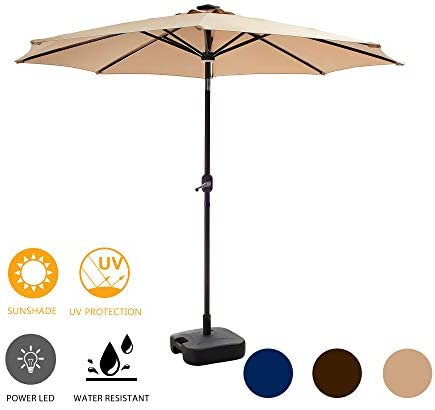 LOKATSE HOME 8.8FT Outdoor Solar Powered Patio Umbrella with 8 LED Lights Bars, 24 L Stand Fillable Water Plastic Square Base, Set, Khaki