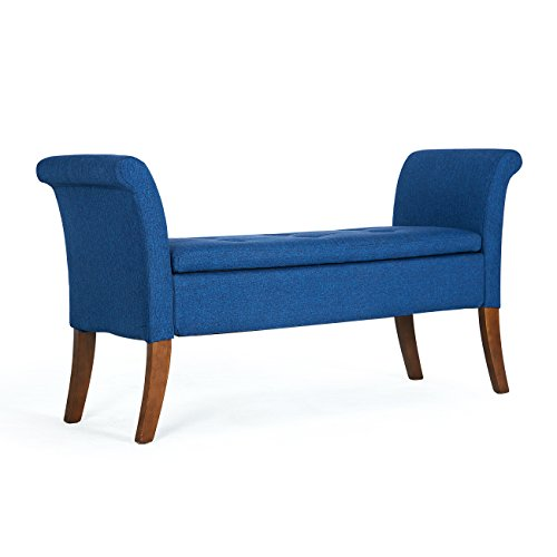 Belleze Modern Storage Couch Living Room Bench Upholstered Settee Tufted Button with Wooden Legs, Blue