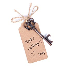 Wedding Favors Skeleton Key Bottle Opener with Escort Tag Card,Twine and Key Rings,Pack of 40 from Devis