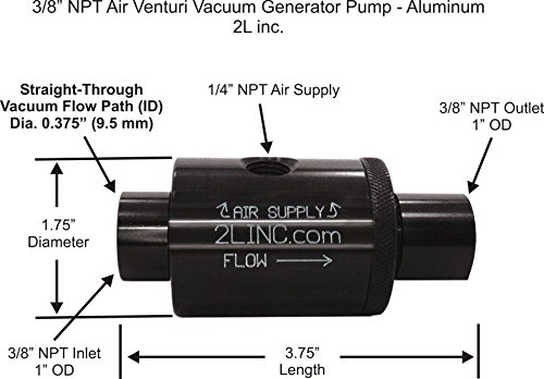 2L inc. 3/8' NPT Air Venturi Vacuum Generator Pump (Anodized Aluminum) with .375' (9.5 mm) Bore Diameter