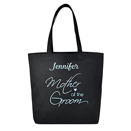 PERSONALIZED Aqua Embroidered Mother of the Groom Tote Wedding Gift Black Shoulder Bag 100% ()
