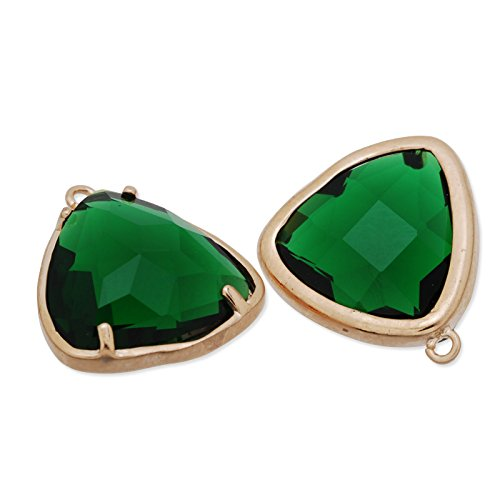 5pcs/lot-15x15mm Deep Green Color Faceted Glass Charms Pendant Matte Gold Plated Frame