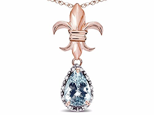 - Star K Pear Shape 8x6mm Genuine Aquamarine Fleur De Lis Pendant Necklace 14k Rose Gold