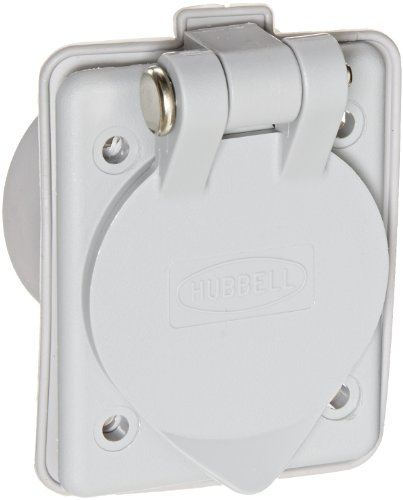 Hubbell Wiring Systems HBL61CM64 Nylon Panel Mount Inlet, 15A, 125 VAC, Gray