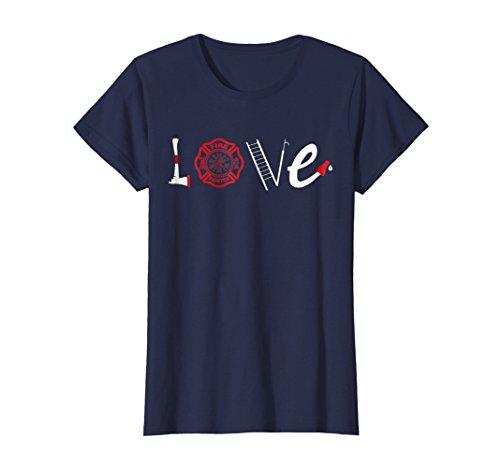 Love Fighters T-shirt (Womens LOVE Firefighters T-Shirt Support Firemen Tee Medium Navy)