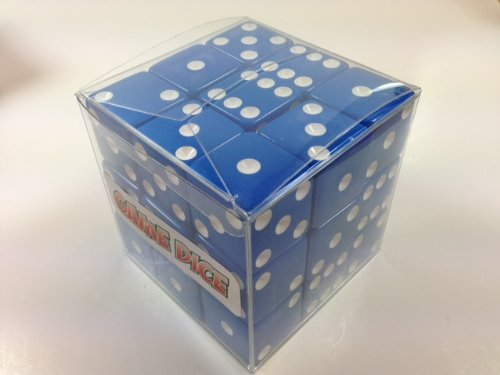 Cube of 27 Large Blue Dice - 25mm (1 inch diameter!) by OneSockMacy