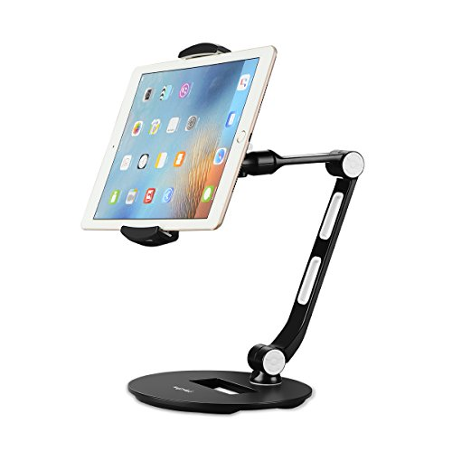 Suptek Aluminum Tablet Desk Stand for iPad, iPhone, Samsung, Asus and More 4.7-12.9 inch Devices, 360° Flexible Cell Phone Holder Mount, Good for Bed, Kitchen, Office (YF208D)