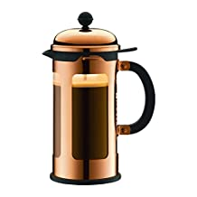 CHAMBORD 1 Litre 1-Piece 8 Cup Copper Plated Coffee-Maker, Clear