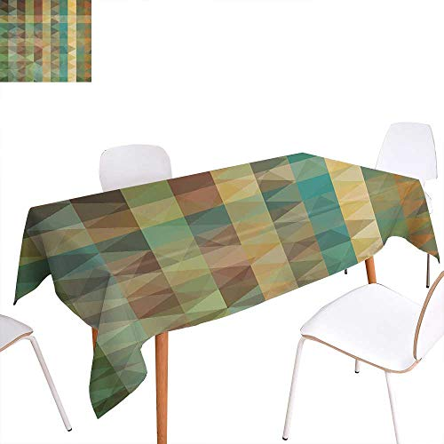 - familytaste Sage Dinner Picnic Table ClothColorful Vertical Lines with Triangles Abstract Geometrical Mosaic Form Retro Style Waterproof Table Cover for Kitchen 60