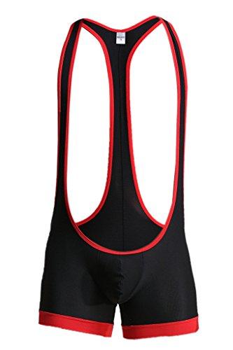 Leories Men's Sexy Lingerie Bodysuit Boxer Briefs Suspenders Singlet Underwear M Black by Leories