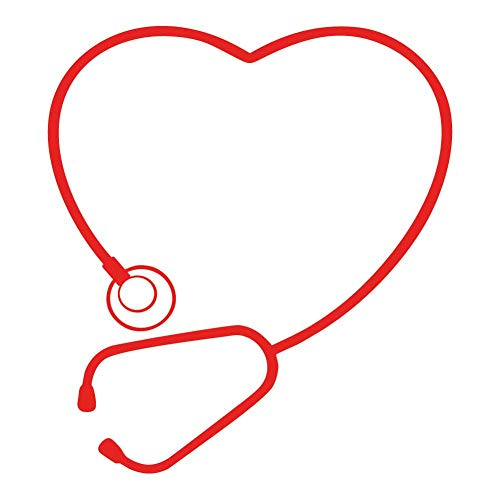 Cute Stethoscope Heart Art - Red Vinyl Decal for 13