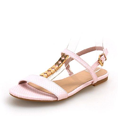Zapatos de cuero de serpiente de verano/TZapatos con forma de mariposa metal/Sandalias planas mujeres A