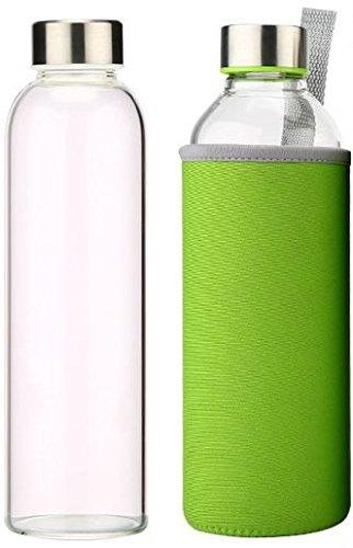 Navy PURE Glass Water Bottle 18.5oz Stylish Portable Borosilicate Glass Bottle with Neoprene Carry Sleeve