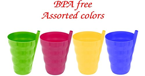 Green Direct Cup With Straw 10 Oz Plastic Cup with Built in Straw for Kids Assorted Colors (Pack of 4) 10 Ounce Straw Cup
