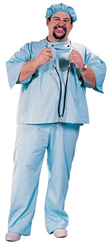 UHC Unisex Traditional Medical Doctor Scrub Fancy Dress Adult Halloween Costume, Plus (Plus Size Doctor Scrubs Costumes)