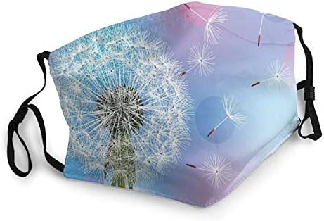 Facial Comfortable Windproof,Bokeh Background Flower with Wind Blowing Seeds Gardening Plants,Gedruckte Dekorationen für Erwachsene