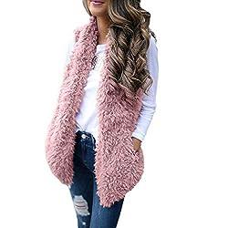 Creazrise Womens Vest Casual Faux Fur Sherpa Jacket Winter Sleeveless Open Front Coat Sleeveless Waistcoat Pink Xl