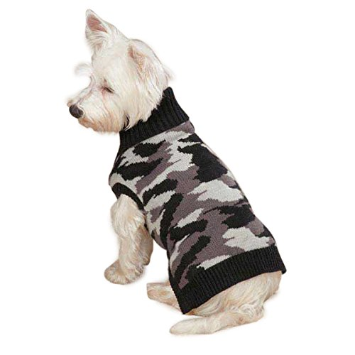 Casual Canine Acrylic Camo Dog Sweater, Small, Black