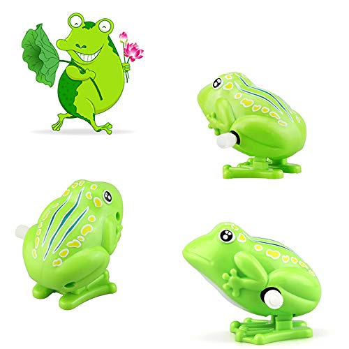 Hisoul Kids Clockwork Toys - Kids Super Fun Desktop Games Mini Cute Frog Pull Back Wind-Up Toys - Great Gift for Kids and Friends ( Green)