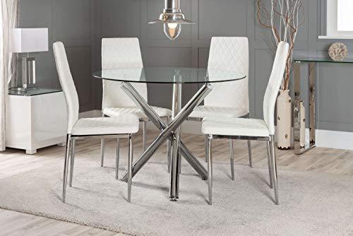 Pleasant Furnitureboxuk Selina Chrome Round Glass Round Dining Table Creativecarmelina Interior Chair Design Creativecarmelinacom