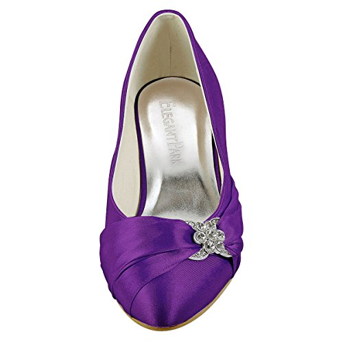 ElegantPark chiuse sposa EP2006L donna scarpe Viola Scarpe tacco da basse rfr16w7q