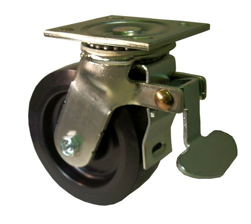 E.R. Wagner Plate Caster, Swivel with Total-Lock Brake, Polyolefin Wheel, Roller Bearing, 700 lbs Capacity, 6