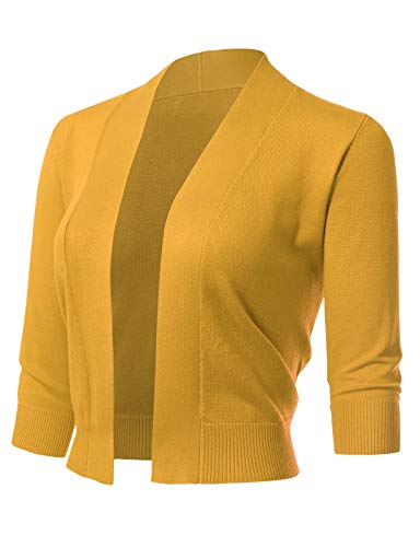 Jersey Knit Cardigan - Women's Classic 3/4 Sleeve Open Front Cropped Cardigans (S-XL) S Yellow B