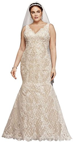 Oleg Cassini Plus Size Lace Trumpet Wedding Dress Style 8CWG747, Ivory, 20W