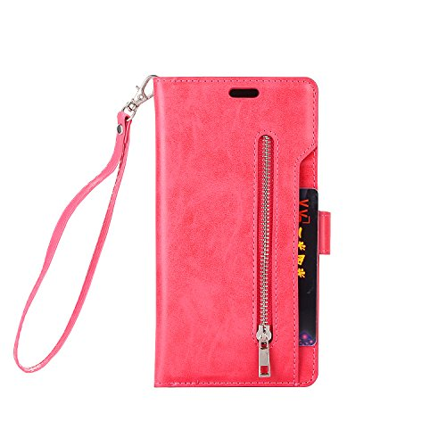 Galaxy Note 8 Wallet Case, SOGOLA [NEW] [9 Card slots] [photo & wallet pocket] Multi-function Premium PU Leather Magnetic Flip Shockproof Zipper Wallet Cover for Samsung Galaxy Note 8 (Friendly Frog Mirror)