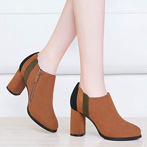 autumn Work and mouth version high Deep shoes shoes shoes heel Brown thick heel Women's winter shoes Korean AJUNR fashionable Ladies single T1adnqTU