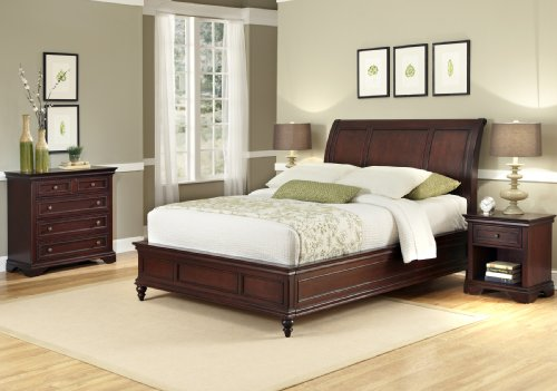 - Lafayette Cherry Queen/Full Sleigh Headboard, Night Stand & Drawer Chest by Home Styles