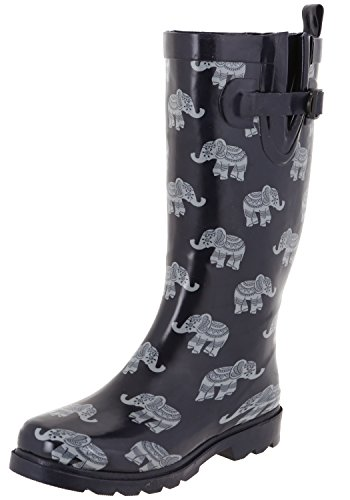 (Capelli New York Ladies Elephant Row Printed Rain Boots Navy Combo 6)