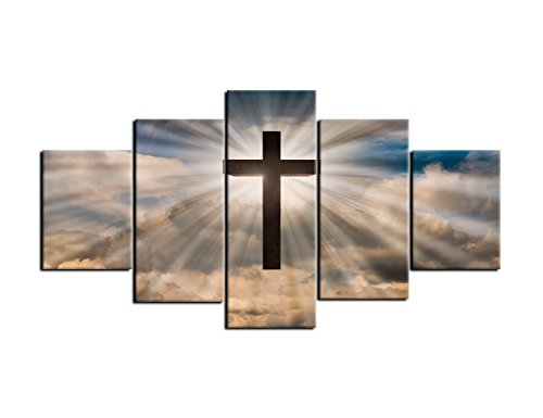 AMEMNY Large Jesus Christ Cross Wall Art Canvas Painting Print Poster 5 Panel on A Dramatic Sky with Clouds Background Painting Christian Wall Decoration for Living Room Framed Ready to Hang (Christ Cross Wall Jesus)
