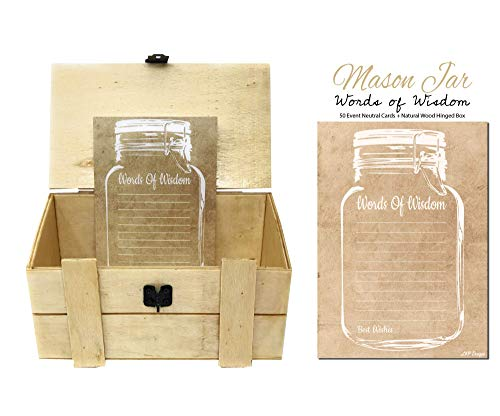 50 Rustic Mason Jar Words of Wisdom Cards and Natural Wood Hinged Box, Wooden Trunk Chest, Gender Neutral Advice Cards, Graduation Advice Cards, Marriage or Wedding Advice Cards, Bridal -