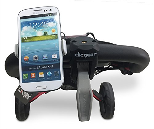 Compact Golf Cart Phone Holder with Strong Clip Attachment - Suits All Popular Cart Brands Inc Clicgear CaddyTek Bag Boy Triumph