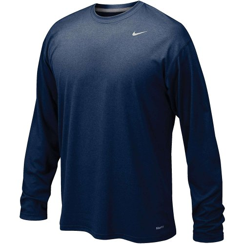 Nike Mens Legend Poly Long Sleeve Dri-Fit Training Shirt College Navy/Matte Silver 384408-419 Size X-Large ()