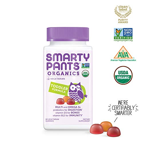 Daily Organic Gummy Toddler Multivitamin: Biotin, Vitamin C, D3, E, B12, A, Omega 3 Fish Oil, Zinc, Selenium, Niacin, Iodine, Choline, Methylfolate, Thiamine by SmartyPants (60 Count, 30 Day Supply)