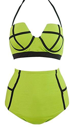LA PLAGE Women's Colorful High Waist Push Up Bikini Set size US X-Large green