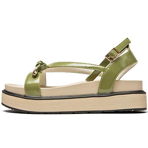 plataforma plataforma Estimadas señoras verano Bow Vintage señoras SOHOEOS para Sandalias Knot señoras Green Nuevo de hebilla mujeres qwP4p6CEx