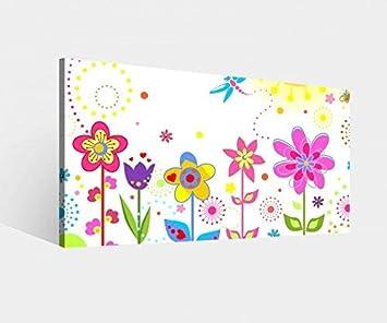 Amazon.de: Leinwandbild Blume Sonne Schmetterlinge Blumen rot lila ...