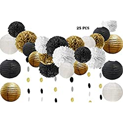 Halloween Party Decorations 25 Pcs Black Gold White Tissue Pom Poms Paper Flowers Paper Lanterns for 40s 50s 60s 70s Birthday Party Decorations