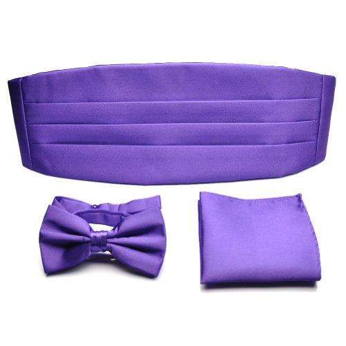Cummerbund Purple Mens - PenSee Mens Formal Solid Pre-tied Bow Tie & Pocket Square & Cummerbund Set - Various Colors