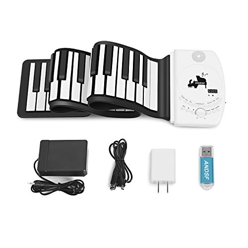 Portable 61 Keys Roll Up Piano – ANDSF Upgrade Version Flexible Eelectronic Piano with intelligent processing chips MP3 Stereo Speaker Built in Rechargeable Battery Suitable For Begainners and Kids
