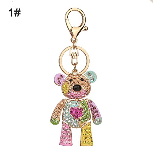 CqmzpdiC Bear Design, Shiny Rhinestone Inlaid, Lovely, Decoration Pendant Fashion Colorful Rhinestone Inlaid Bear Key Chain Pendant Keys Organizer Decor - 1#